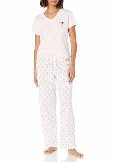 Tommy Hilfiger Women's Top and Pant Bottom Lounge Pajama Set Pj  L