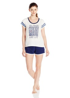 Tommy Hilfiger Women's Top and Short Bottom Pajama PJ Set  M
