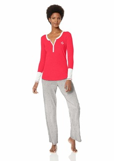 Tommy Hilfiger Women's Top with Flannel Bottom Pajama Set Pj Crimson Sleeve Tommy in The Stars White Red Navy Blazer Blue Long Pant