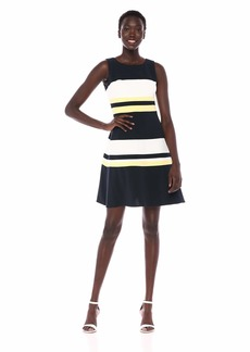 Tommy Hilfiger Women's Tri Colorblock Swing Dress Sky Captain/Ivory/Sunshine