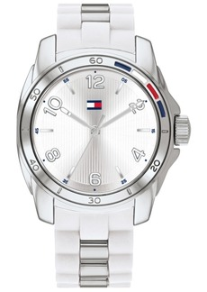 Tommy Hilfiger Women's White Rubber & Silver-Tone Bracelet Watch 36mm, Created for Macy's