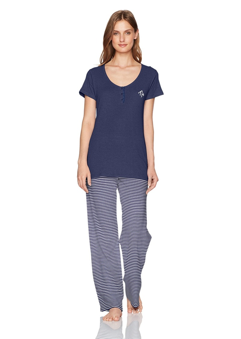 5262704e79 Tommy Hilfiger Womens Women's Short Sleeve Top and Pant Bottom Pajama Set  ...