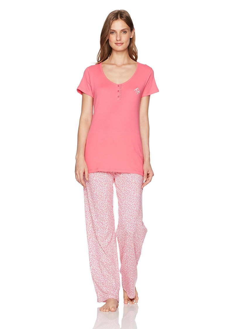 7e3d7aa0 Tommy Hilfiger Womens Women's Short Sleeve Top and Pant Bottom Pajama Set PJ  XS