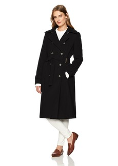 Tommy Hilfiger Women's Wool Blend Long Belted Military Coat  LARGE