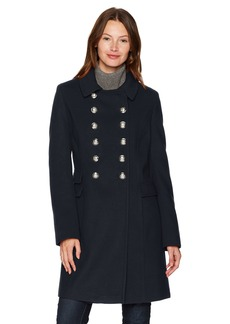 Tommy Hilfiger Women's Wool Blend Military Button Coat  MEDIUM