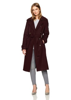 Tommy Hilfiger Women's Wool Blend Military Trench Coat with Patches