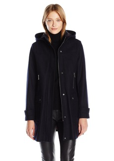 Tommy Hilfiger Women's Wool Coat with Plaid Lined Removable Hood  L