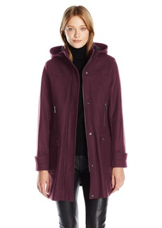 Tommy Hilfiger Women's Wool Coat with Plaid Lined Removable Hood  S