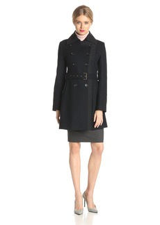 Tommy Hilfiger Women's Wool Color Blocked Military Double Breasted Coat