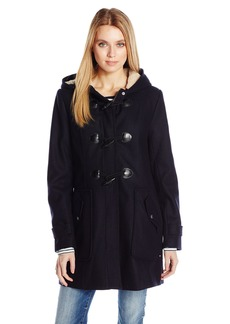Tommy Hilfiger Women's Wool Toggle Wool Coat with Sherpa Lined Hood  L