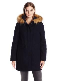 Tommy Hilfiger Women's Wool Utility Coat with Faux Fur Trim Hood
