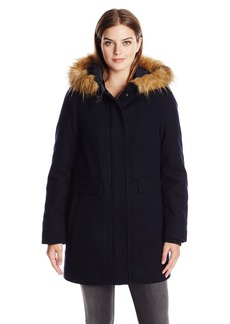 Tommy Hilfiger Women's Wool Utility Coat with Faux Fur Trim Hood