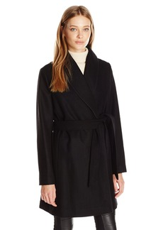 Tommy Hilfiger Women's Wool Wrap Coat With Pick Stitching  M