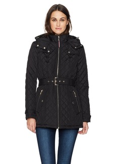 Tommy Hilfiger Women's Zip Front Belted Diamond Quilt Hooded Jacket  EXTRA LARGE