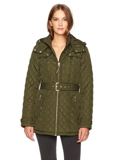 Tommy Hilfiger Women's Zip Front Belted Diamond Quilt Hooded Jacket  MEDIUM
