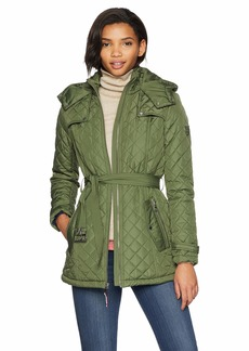 Tommy Hilfiger Women's Zip Front Belted Diamond Quilt Hooded Jacket  S