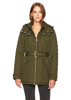 Tommy Hilfiger Women's Zip Front Belted Diamond Quilt Hooded Jacket  SMALL