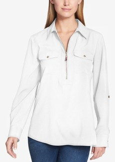 Tommy Hilfiger Zip-Front Utility Shirt, Created for Macy's