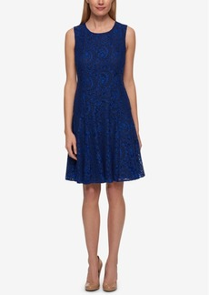 Tommy Hilifiger Two-Tone Paisley Lace A-Line Dress
