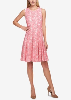 Tommy Hilfiger Tommy Hilifiger Two-Tone Paisley Lace A-Line Dress