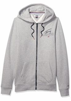 Tommy Hilfiger Tommy Jeans Men's Essential Graphic Hoodie Full Zip Up Sweatshirt Light Grey Heather her her