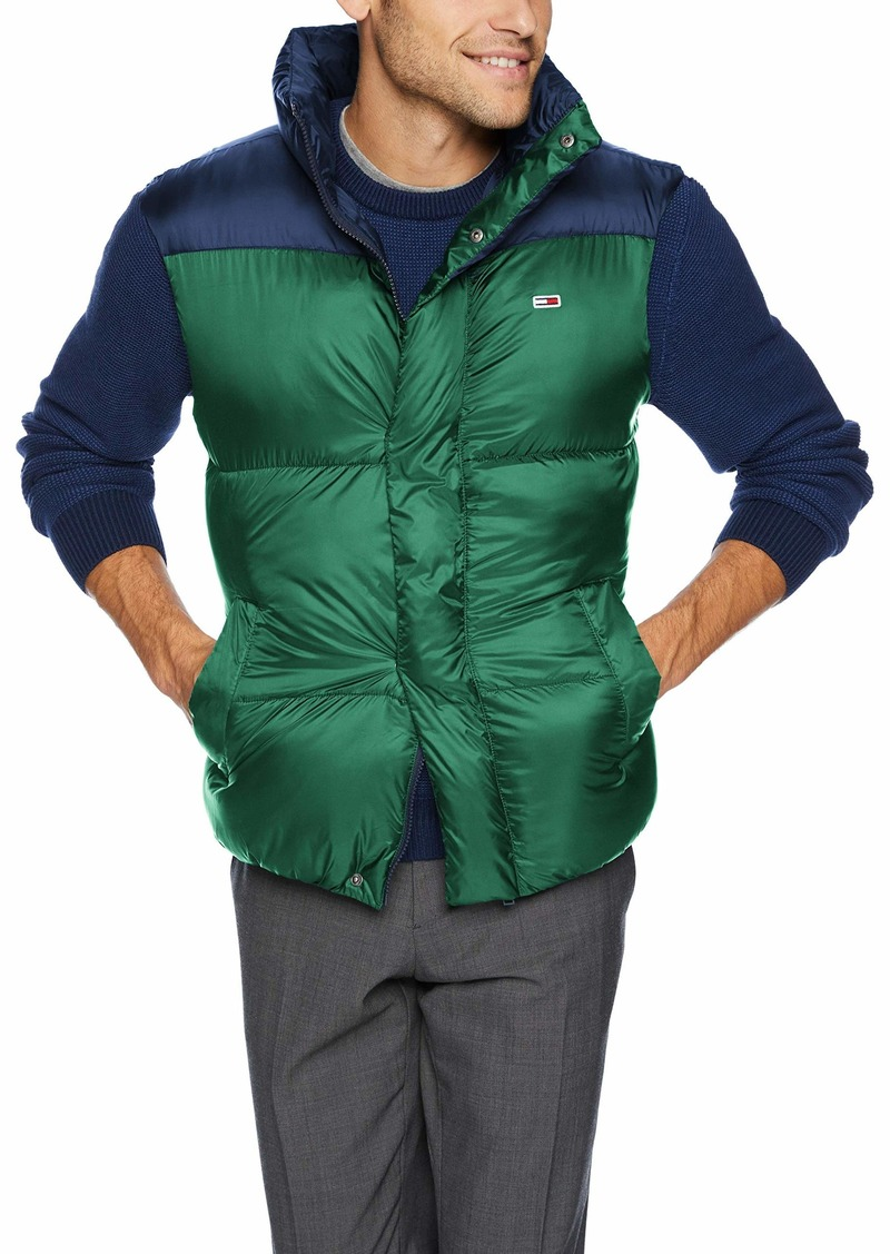 Tommy Hilfiger Tommy Jeans Men's Vest with Down Fill Classics Collection Hunter Green/Black iris