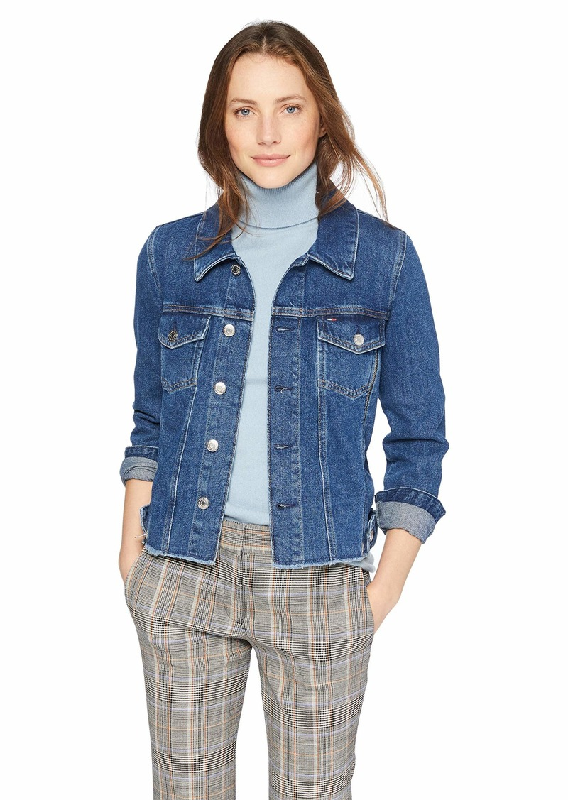 Tommy Hilfiger Tommy Jeans Women's Jean Zippers Trucker Jacket Zip raw Dark Blue Rigid