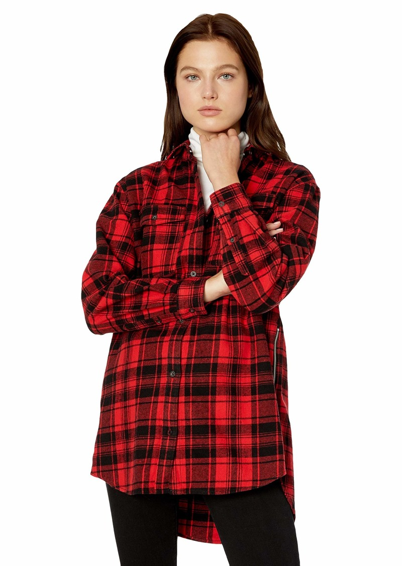 Tommy Jeans Women's Plaid Shirt Flannel Boyfriend Fit Dark red Check