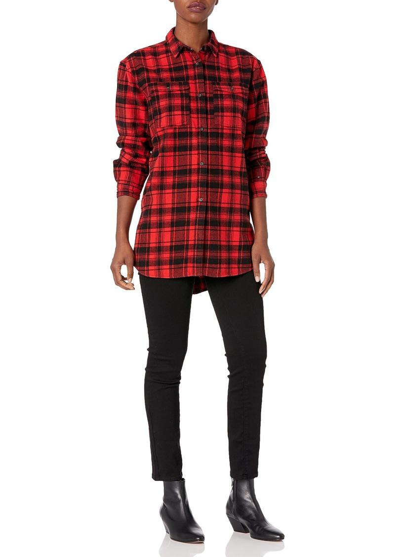 Tommy Hilfiger Tommy Jeans Women's Plaid Shirt Flannel Boyfriend Fit Dark red Check