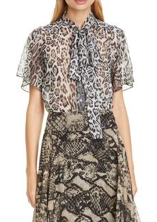 Tommy Hilfiger Tommy x Zendaya Leopard Print Tie Neck Blouse