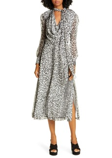 Tommy Hilfiger Tommy x Zendaya Leopard Tie Neck Long Sleeve Midi Dress (Nordstrom Exclusive)