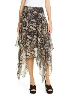 Tommy Hilfiger Tommy x Zendaya Snake Print Handkerchief Hem Skirt (Nordstrom Exclusive)