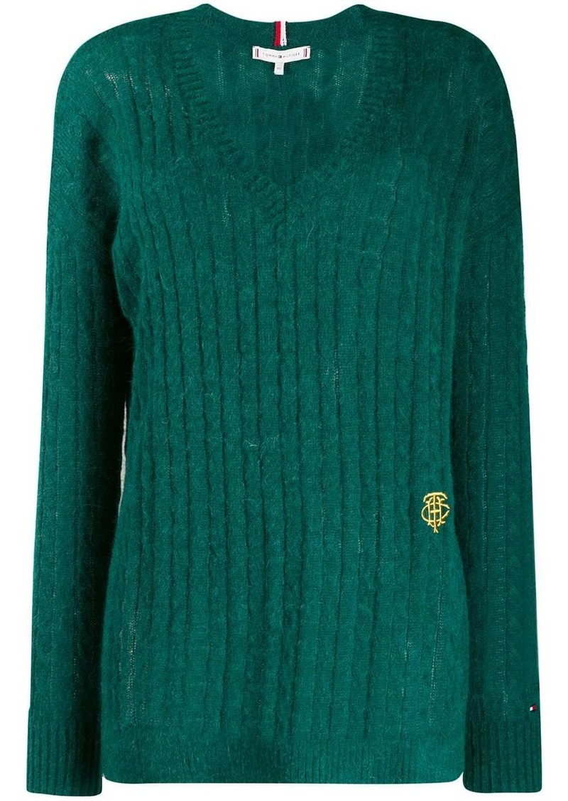 Tommy Hilfiger V-neck cable knit top