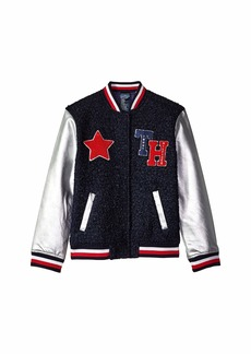 Tommy Hilfiger Varsity Jacket with Magnetic Buttons and Sherpa  (Little Kids/Big Kids)