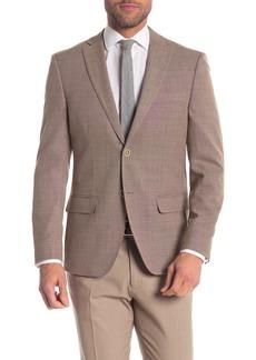 Tommy Hilfiger Weave Brown Two Button Notch Lapel Slim Fit Performance Blazer
