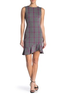 Tommy Hilfiger Windowpane Print Flounce Hem Dress