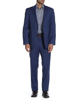 Tommy Hilfiger Blue Solid Two Button Notch Lapel Wool Blend Regular Fit Suit