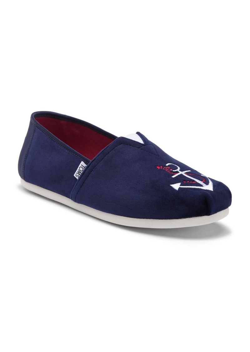TOMS Shoes Anchor Embroidered Velvet Slip-On Sneaker
