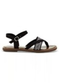 TOMS Shoes Black Canvas Embroidery Women's Lexie Sandals