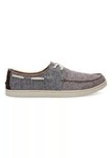 TOMS Shoes Black Chocolate Brown Slub Chambray Men's Boat Shoes