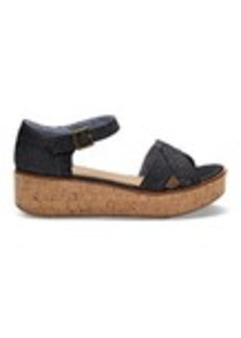 d278cb23a075 TOMS Shoes Black Denim Women s Harper Wedges
