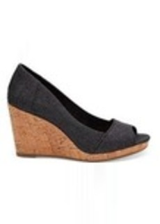 TOMS Shoes Black Denim Women's Stella Peep-Toe Wedges