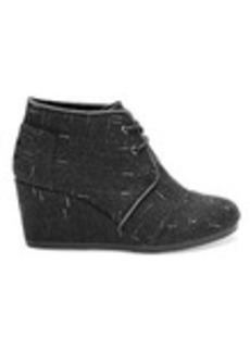 TOMS Shoes Black Dotted Wool Women's Desert Wedges