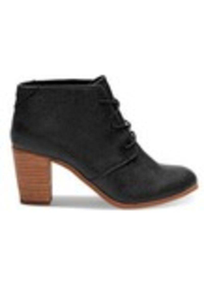 TOMS Shoes Black Metallic Synthetic Leather Women's Lunata Lac...