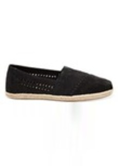 Black Nubuck Suede with Woven Panel Women's Espadrilles