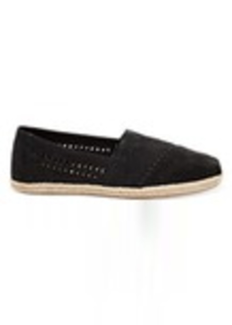 1806a0b8c33b TOMS Shoes Black Nubuck Suede with Woven Panel Women s Espadrilles ...