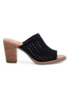Black Suede Perforated Leaf Women's Majorca Mu...