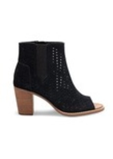 Black Suede Perforated Leaf Women's Majorca Pe...
