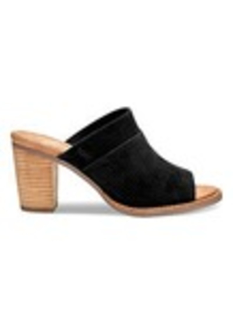 999dafa8eb3 TOMS Shoes Black Suede Perforated Women s Majorca Mule Sandals