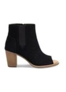Black Suede Perforated Women's Majorca Peep Toe B...